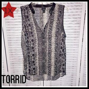 Torrid Snake Print Blouse 1X Black